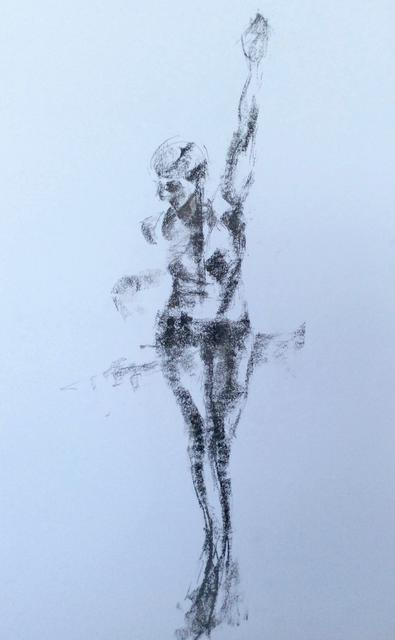 "Latin American Dancer  4 , grey and black pastels , 20""x28""  £175  SOLD"